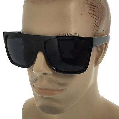 MENS Limo Large Black Flat Top Oversize Gangster Rectangular Shade (Oversized Rectangular Sunglasses)
