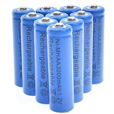 10 Aa Nimh Rechargable Batteries - 10 AA Rechargeable Batteries NiMH 3000mAh 1.2v Garden Solar Ni-MH Light LED USA