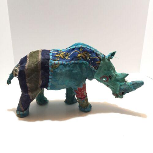 Indian Sari Fabric Wrapped Paper Mache Rhinoceros Sculpture