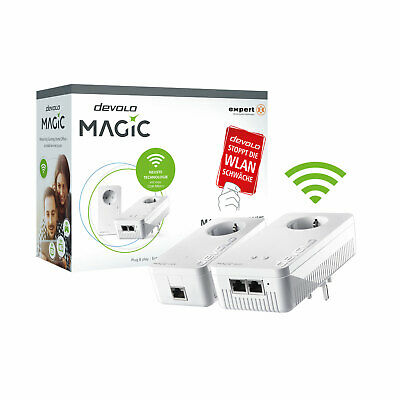 devolo Magic 1200+ WiFi Starter Kit Powerline Adapter Mesh WLAN 1200 Mbit