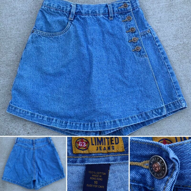 "Vintage 63 Limited Jeans Skort denim (skirt/shorts) high waist size 16 26"" waist"