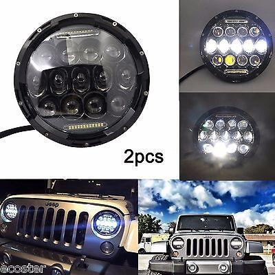 2X 7 75W Philips Led Projector Headlight Hi Lo Beam Drl For Jeep Wrangler Jk Tj