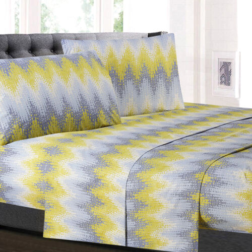 Malibu Chevron Printed 4-Piece 1500 Supreme Collection Sheet Set Bedding