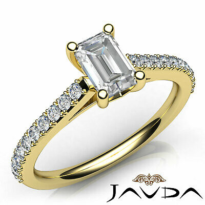 Double Prong Emerald Natural Diamond Engagement White Gold Ring GIA F VS2 0.80Ct 7