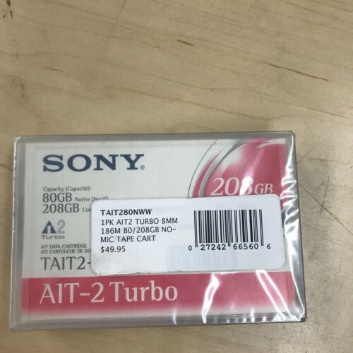 NEW SEALED Sony TAIT1-80N Turbo 80/208GB Data Tape Cartridge