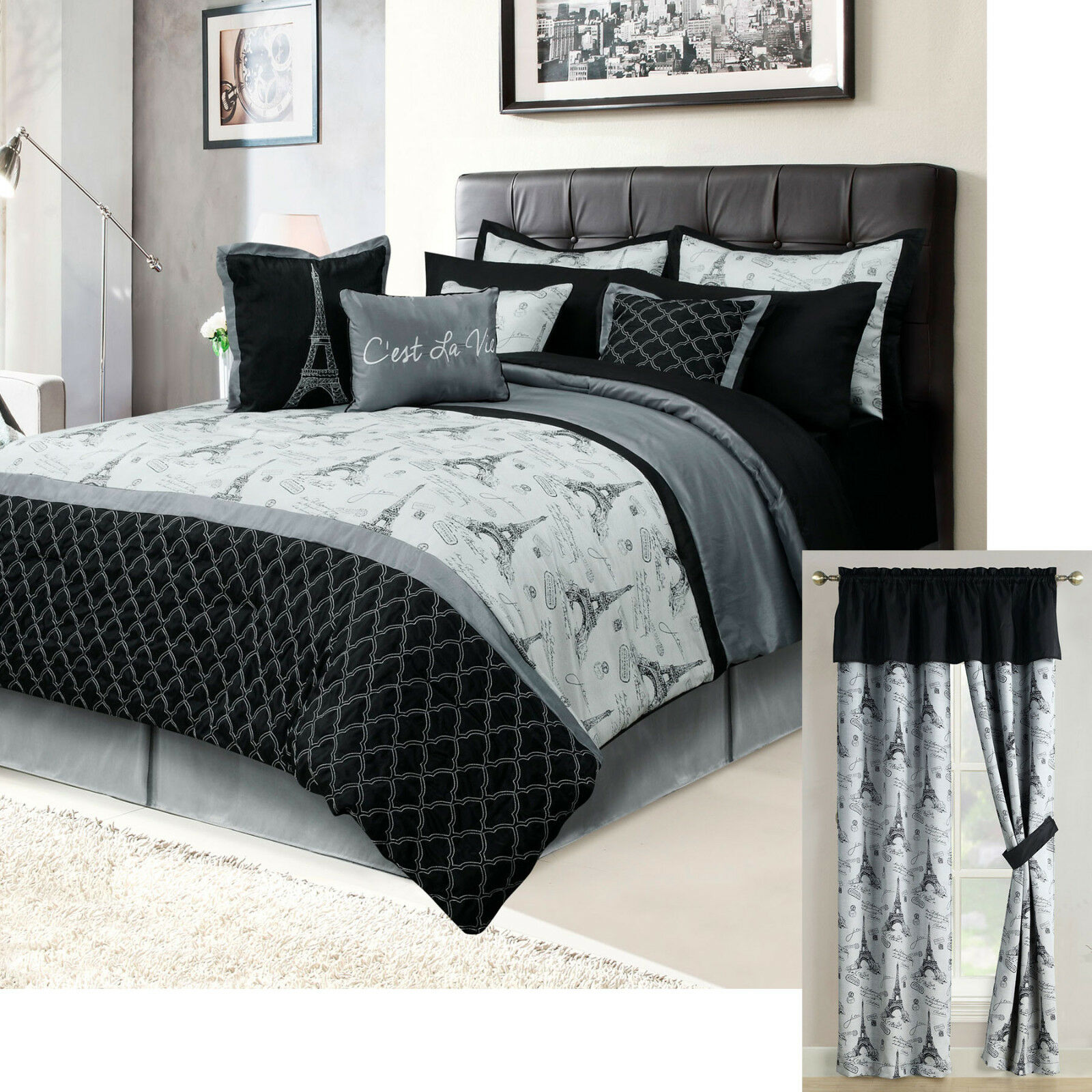 Paris Queen or King Bedding Bed in a Bag 12 Piece Set Eiffel Tower Black, Gray Bed-in-a-Bag