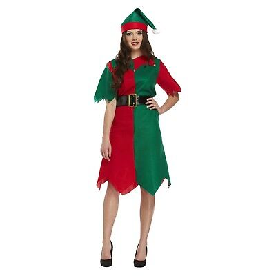 Adult Female Elf Fancy Dress Up Christmas Costume Outfit Xmas Party Brand New ()