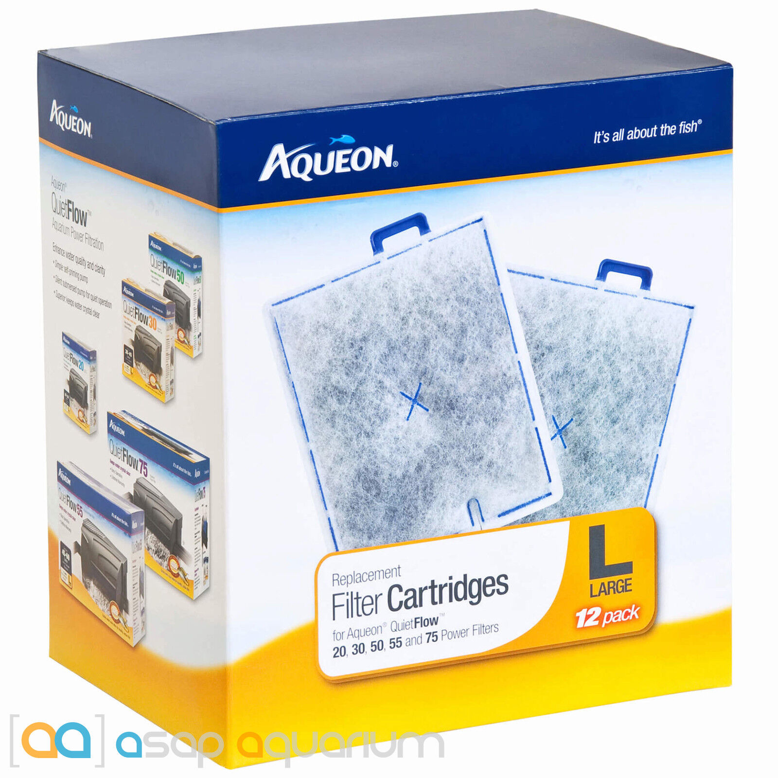 Aqueon Replacement Filter Cartridges, Medium, Pack of 12