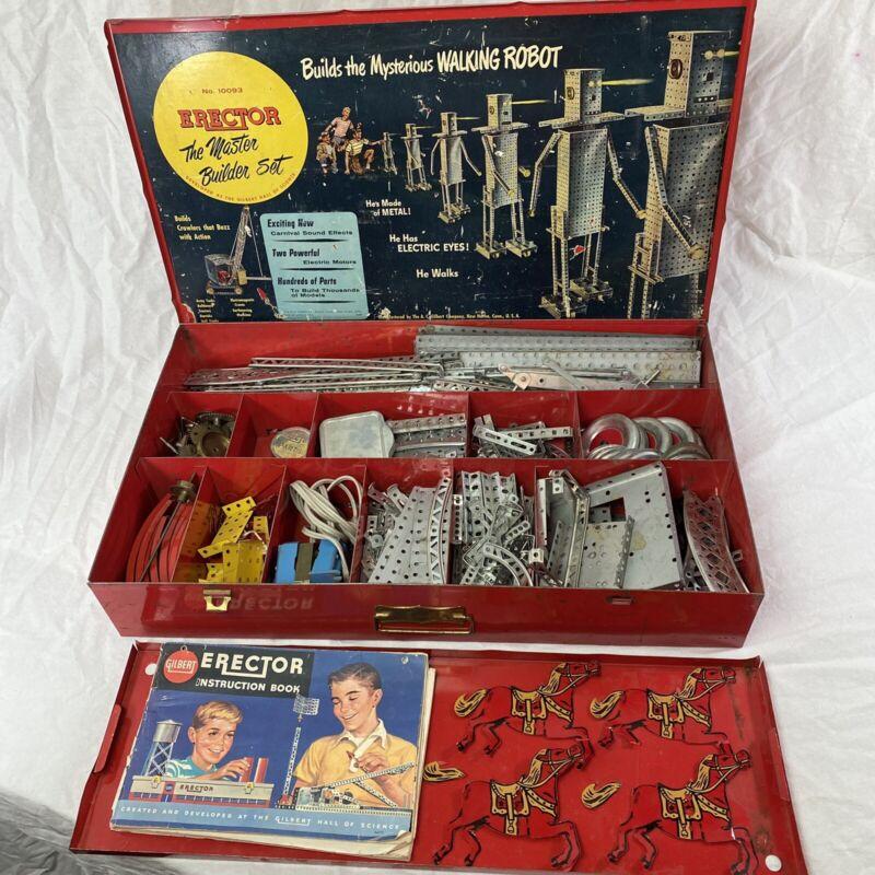 Rare Vintage AC Gilbert  Master Builder Erector Set #10093 W/ Orig Metal Case