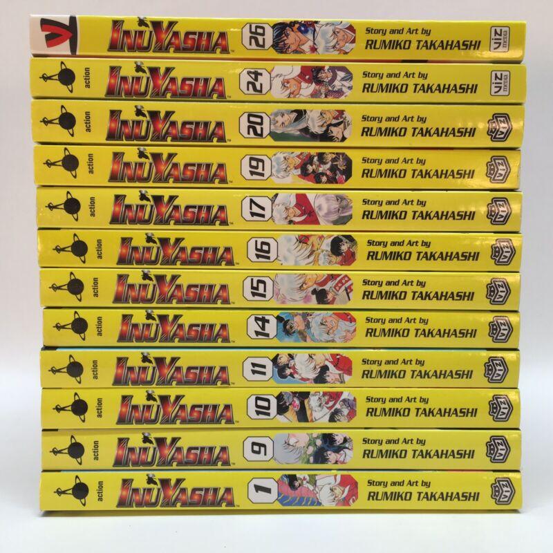 InuYasha Manga Graphic Novel Lot Of (12) Books 1,9,10,11,14,15,16,17,19,20,24,26