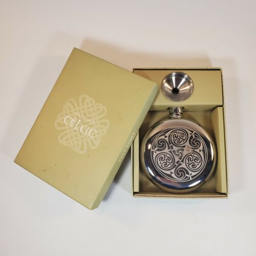 Past Times Celtic Spiral 4.5 oz Stainless Steel Hip Flask w/ Funnel w/ Box