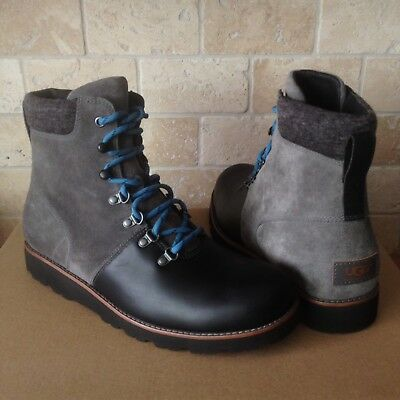 a6b2790466a UGG HALFDAN WATERPROOF CHARCOAL GREY BLACK LEATHER BOOTS SHOES SIZE US 10  MENS