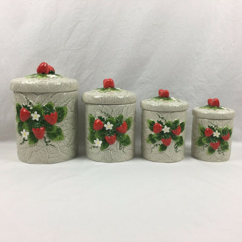 Vintage Sears Roebuck and Co 1981 Strawberry Ceramic Canister set of 4