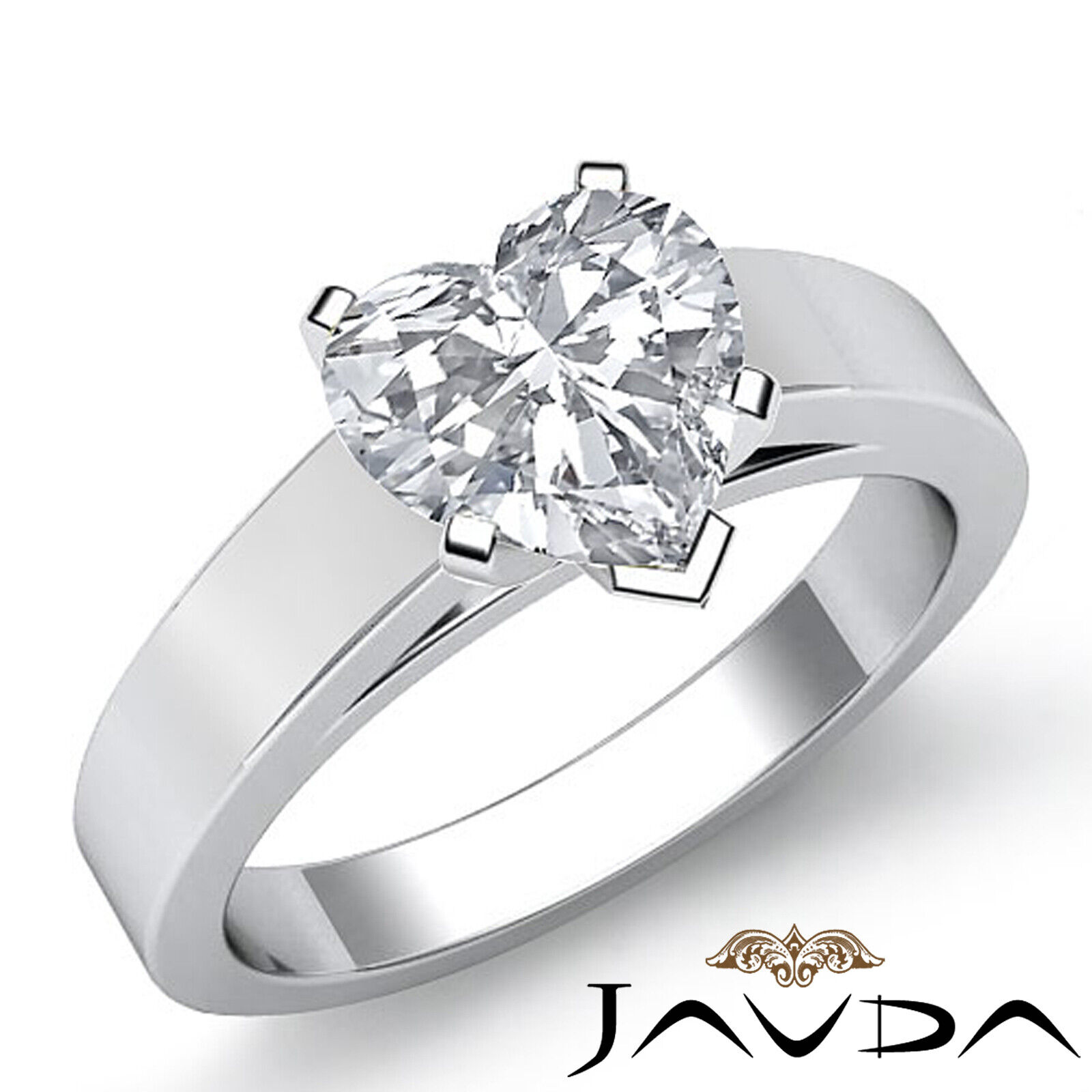 4.5mm Heart Diamond cathedral Solitaire Engagement GIA G SI1 Gold Ring 0.70 ct.