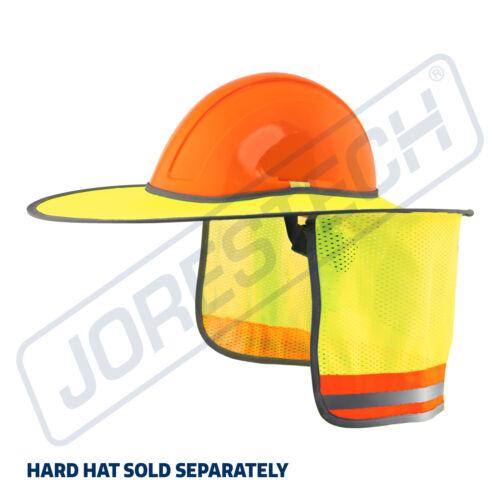 Hard Hat Sun Shade Visor Full Brim Mesh Neck HI VIS REFLECTIVE STRIPE JORESTECH