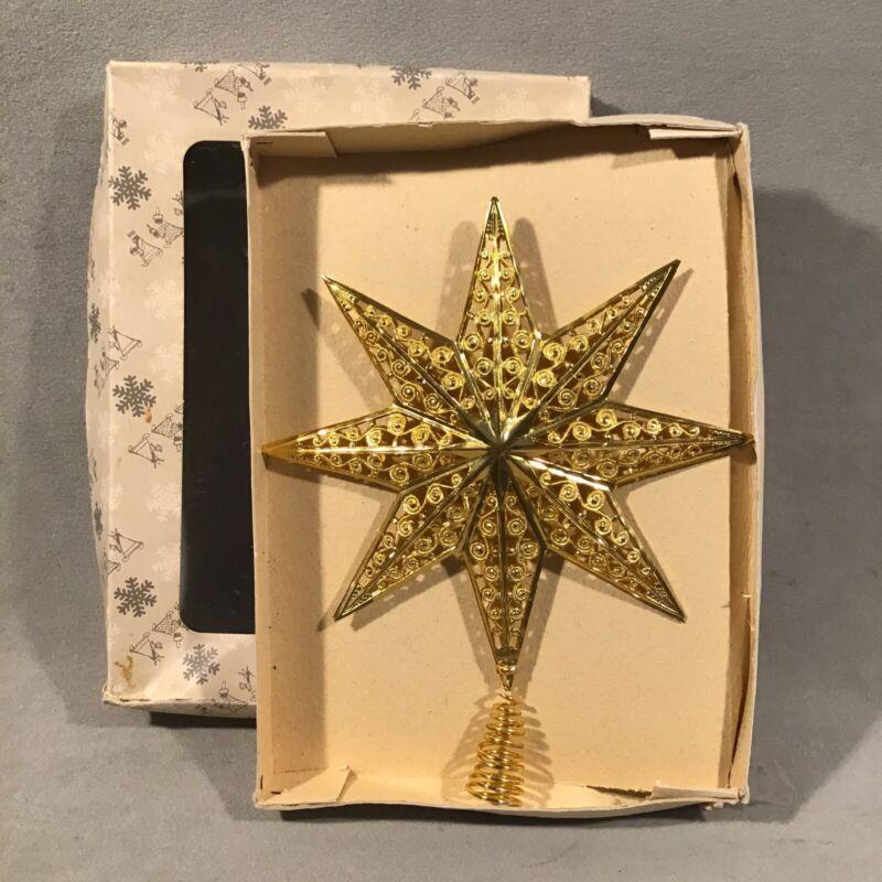 PV07114 Vintage 1970s West German Gold Metal Christmas Tree STAR Topper in Box