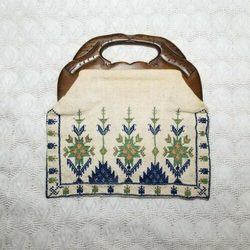 Vintage cross stitch embroidered bag purse floral wooden handles made in Greece