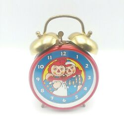 Vintage 1971 Red Raggedy Ann & Andy Wind Up Alarm Clock SEE VIDEO