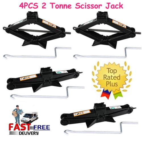 4PCS 2 Tonne Scissor Wind Up Jack For Car Van Garage-Chromed Crank Speed Handle