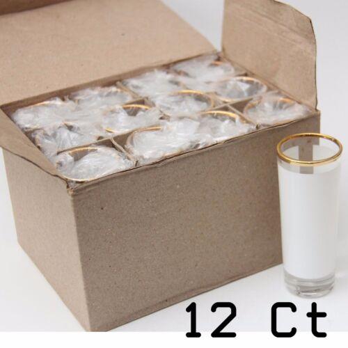 Blank Dye Sublimation Shot Glass 3oz Large (12 units)  with Gold Rim