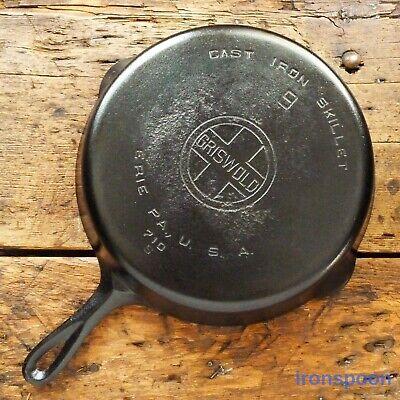 Vintage Griswold Cast Iron Skillet Frying Pan # 9 Large Block Logo - Ironspoon