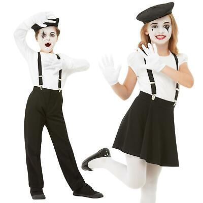 Kids Boys Girls French Artist Mime Pantomime Beret Braces Hat Gloves Fancy Dress