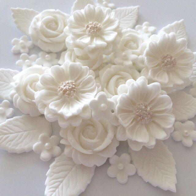White Wedding Rose Bouquet Edible Sugar Paste Flowers Cake ...