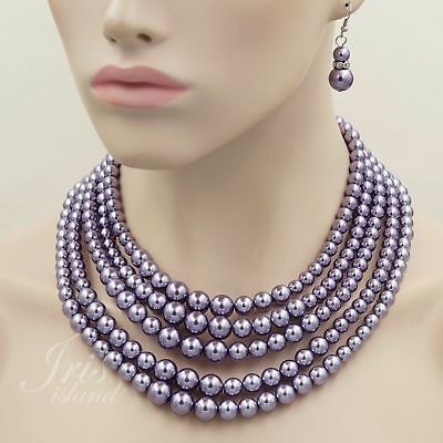 Purple Glass Pearl Multi Layered Strand String Necklace Earrings Jewelry set 132 (Multi String Pearl Set)