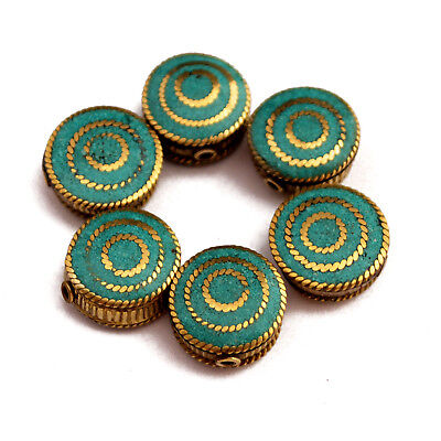 Turquoise Solid Brass 6 Beads Tibetan Nepalese Handmade Tibet Nepal UB2497
