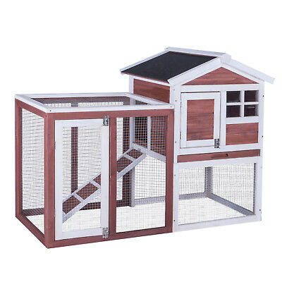 Large Wood Chicken Coop Rabbit Hutch Hen House Pet Poultry Run Cage Yard W/Roof