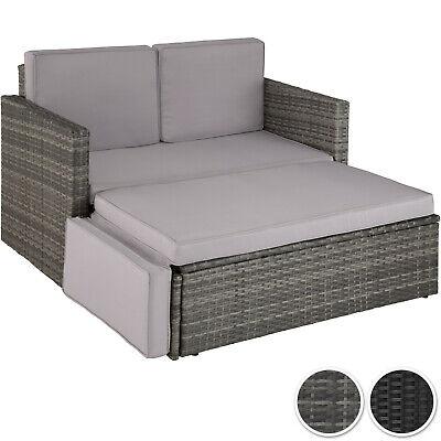 Gartenmöbel (Poly Rattan Lounge Set Gartenmöbel Sitzgruppe Garten Sofa Couch Ottomane Hocker)