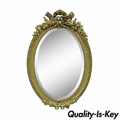 Antique French Louis XVI Style Gold Gilt Torch Flame Gesso Oval Mirror - Flame Oval Mirror