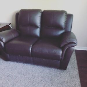 2 brown leather couches/recliners for sale