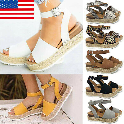 Women Platform Espadrilles Slingback Ankle Strap Beach Sandals Shoes Size US Ankle Strap Wedding Sandals