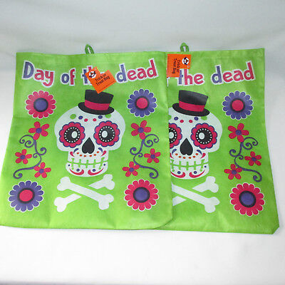 2 Day Of The Dead Sugar Skull Halloween Trick Or Treat Tote Bags Reusable New - Trick Or Treat Halloween Day