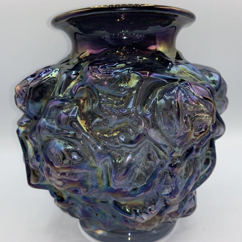 Vintage Imperial Carnival Glass Vase, Purple Iridescent. Cabbage Rose Pattern