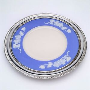 1930s-Lenox-Apple-Blossom-Plate-Blue-amp-Ivory-w-Gadroon-Sterling-Silver-Border