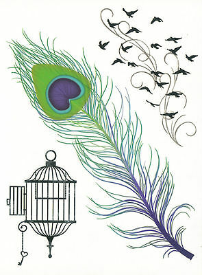 DESIGNER LARGE SHEET FEATHER, BIRDS temporary Tattoo