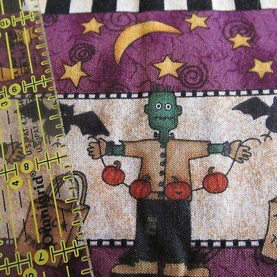 HALLOWEEN cotton fabric Debbie Mumm purple frankenstein witch rows 17x42 (Debbie Mumm Halloween)