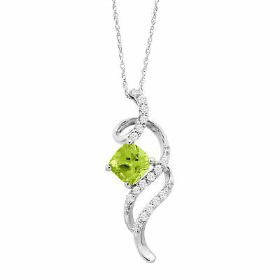 1 1/5 ct Natural Peridot & White Topaz Swirl Pendant in Sterling Silver