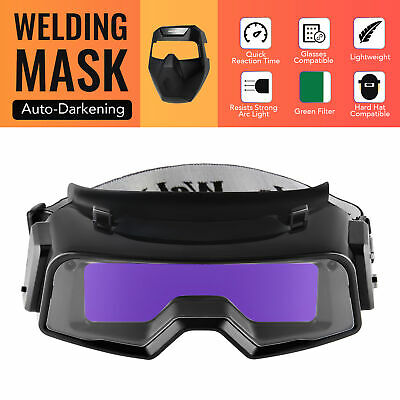 Auto Darkening Welding Mask With Detachable Goggles For Welding Grinding Cutting