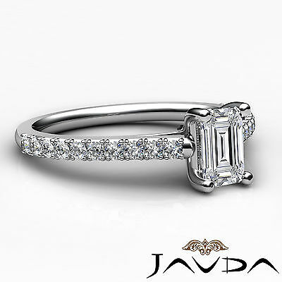 Double Prong Emerald Natural Diamond Engagement White Gold Ring GIA F VS2 0.80Ct 2