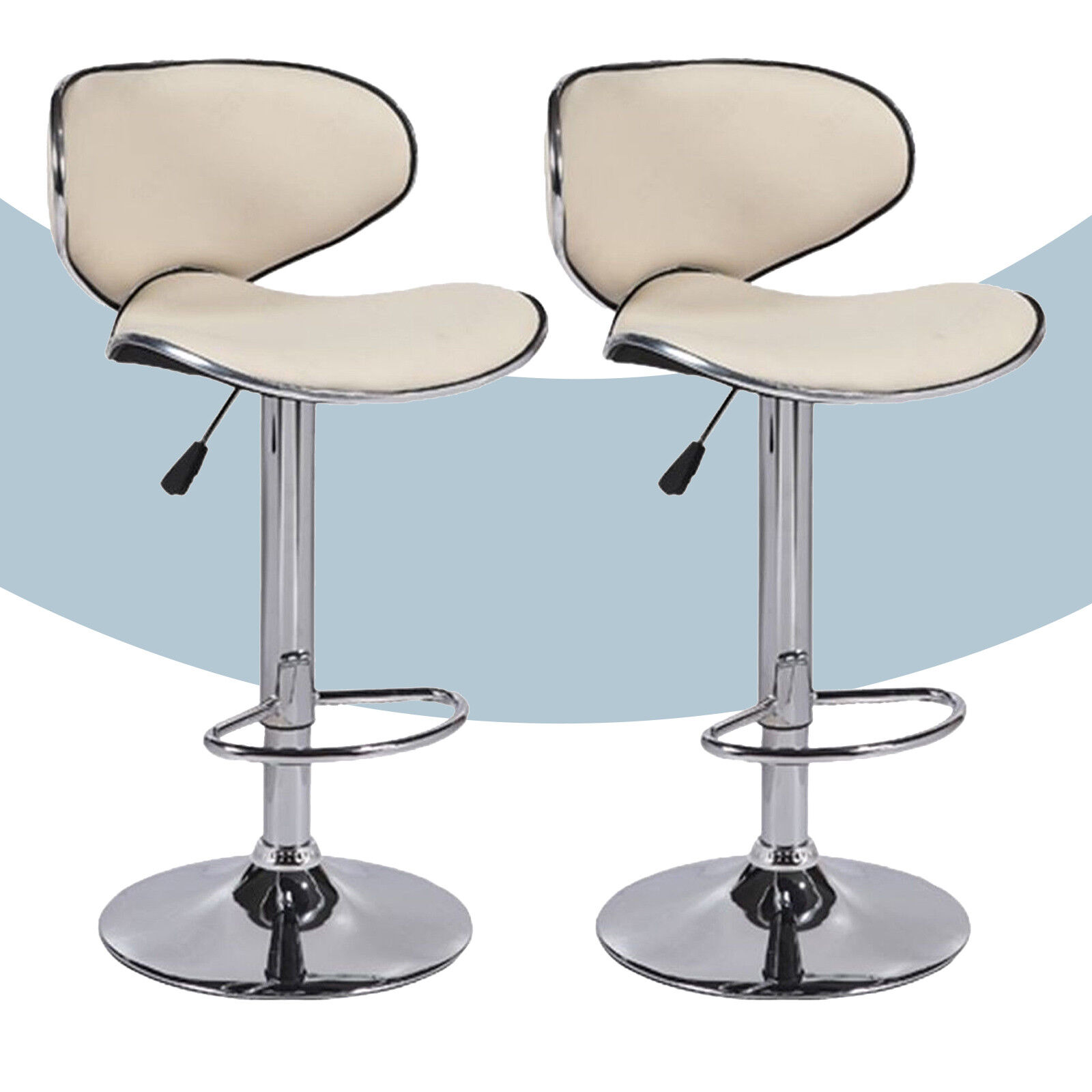 Details About Adjule Set Of 2 Bar Stools Pu Leather Hydraulic Swivel Dining Chair In Cream