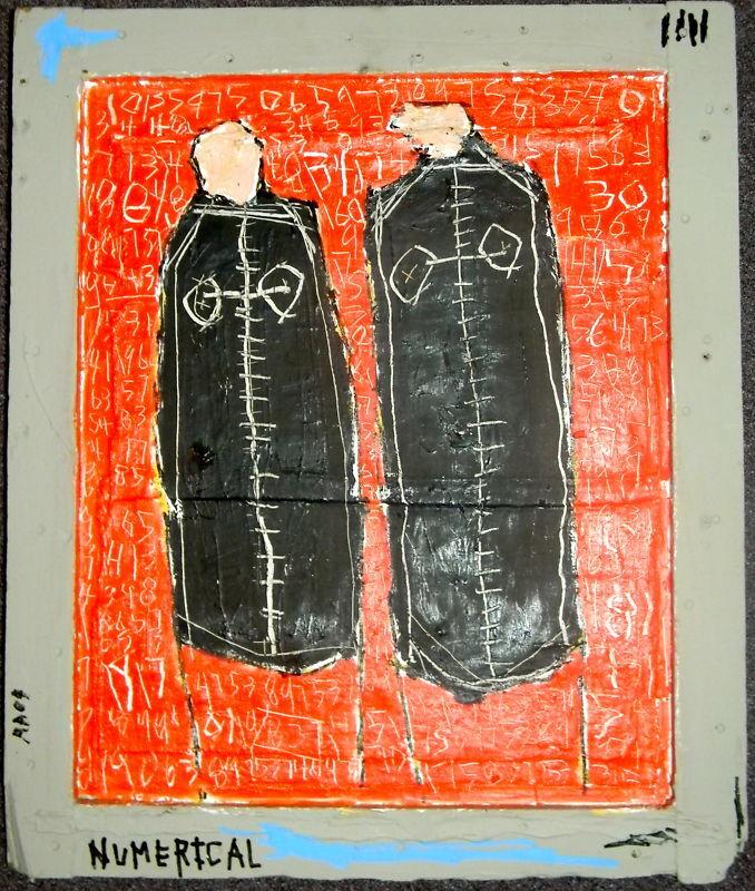Edward Goss ORIGINAL Signed Pop Folk Outsider primitive painting Abstrsct BE HER