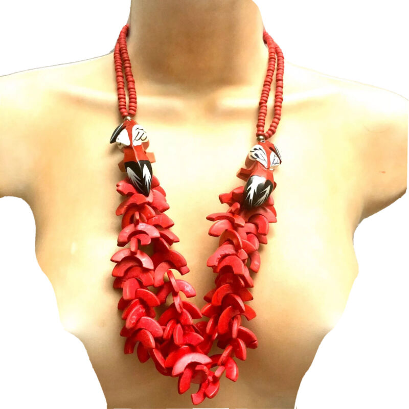 Red Statement Necklace Tropical Toucan  Hand Carved Multi Strand Choker