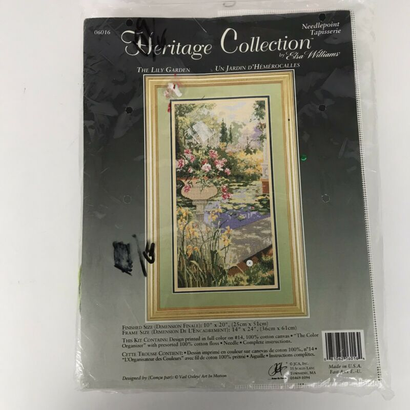Elsa Williams Needlepoint Kit THE LILY GARDEN Heritage Collection 06016 Sealed