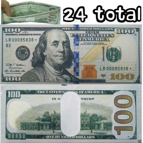 24 Pack - 100 Hundred Dollar Bill Wallets Money Bi-Fold Card Holder - US SELLER