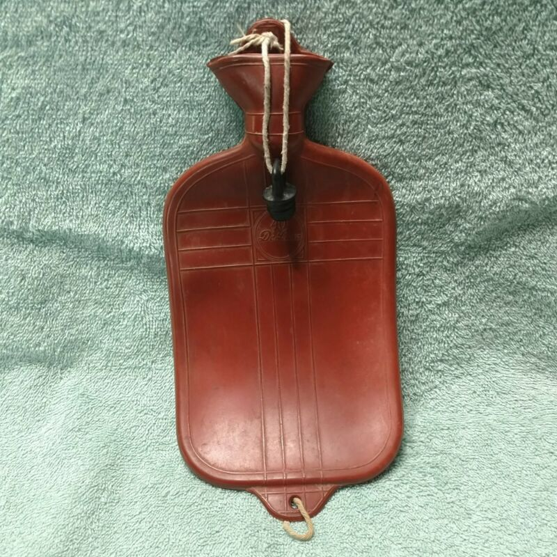 Small Vintage Hot Cold Water Bottle Red Rubber 40 DeLuxe Screw In Plug