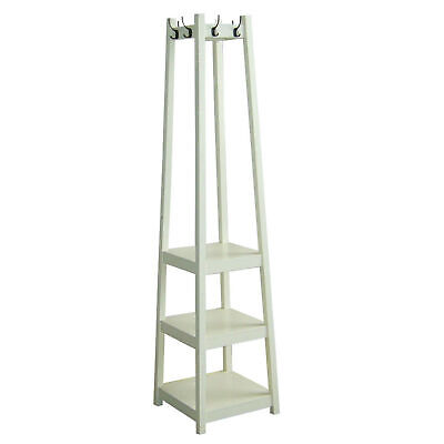 Ore International 8-hook White Finished Coat Rack Stand With 3-tier Tower Shoe ()