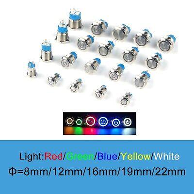 12161922mm Waterproof Metal Push Button Switch Led Light Momentary Latching -